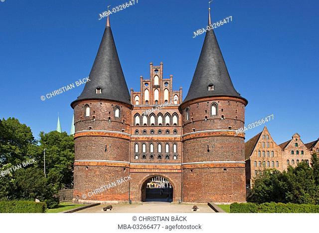 Holsten gate in the Hanseatic town Lübeck, Schleswig - Holstein, North Germany, Germany