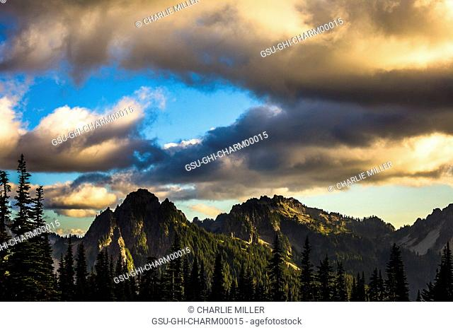 Mountains and Dramatic Clouds at Sunset, Mount Rainier National Park, Washington, USA