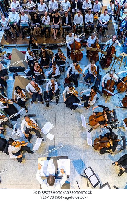 Paris, France, Tourists Visiting New Train Station Renovated Gare Saint Lazare, National Music Festival, Fete de la Musique, Classical Music Conccert in Hall