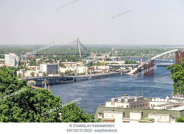 Kiev cityscape and Dnieper river, Ukraine