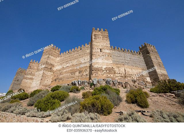 rampart of landmark ancient arab Castle of Burgalimar, from X century, public monument in village Banos de la Encina, Jaen, Andalusia, Spain Europe