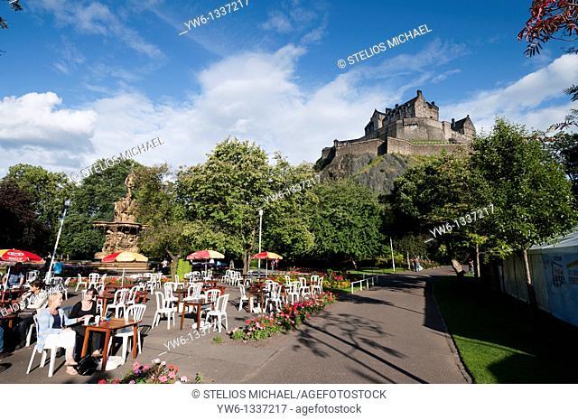 Princes Street Gardens with Edinburgh Castle, Scotland