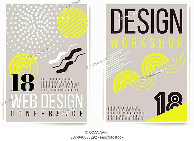 Design workshop, design conference placard. Vector neon fluid abstract poster template. Minimal modern presentation, brochure, cover