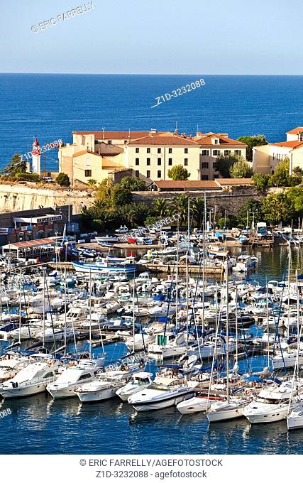 "Harbour view with the """"Citadel"""" in the background. Ajaccio harbour. Napoleon's birthplace"