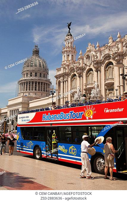Touristic Habana bus tour in front of the Capitolio building and the Gran Teatro in Central Havana, La Habana, Cuba, West Indies, Central America