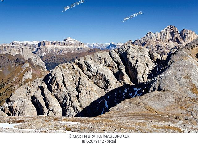 At the Bepi Zac via ferrata in the San Pallegrino valley, above San Pellegrino Pass or Passo San Pellegrino, Sella massif in the back, Dolomites, Trentino