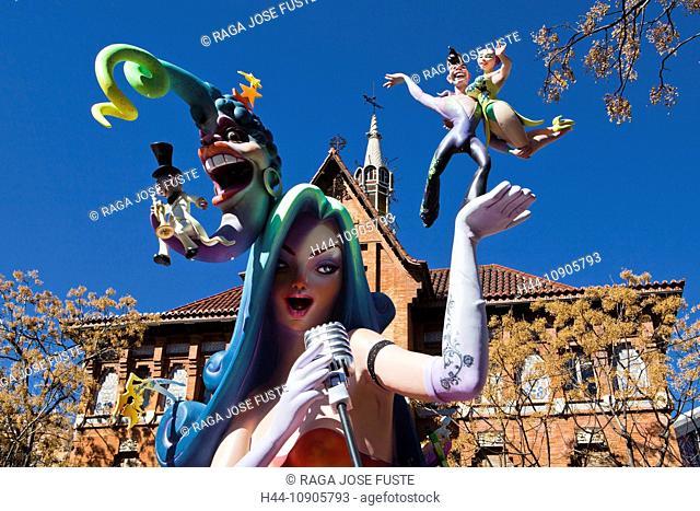 Spain, Europe, Valencia, art, big, color, falla, festival, imagination, people, street