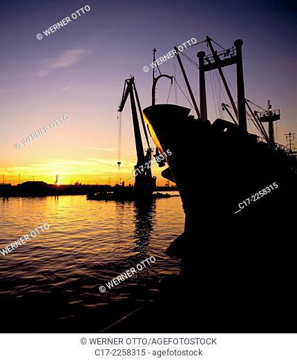 Germany, Bremen, Weser, Freie Hansestadt Bremen, international port Bremen, freighter, crane, evening, sunset glow