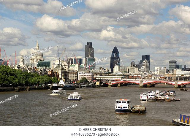 UK, London, Thames River, City, Great Britain, Europe, England, skyline, boats, ships