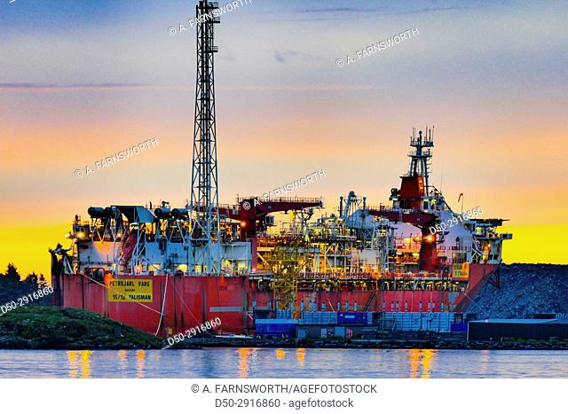 STAVANGER, NORWAY Oil and production platform waiting for contracts, standing still in harbour