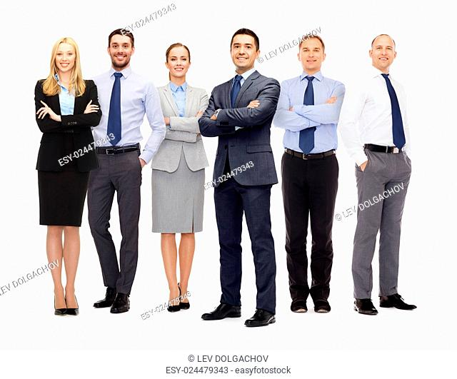 business, teamwork, office and people concept - group of happy business people