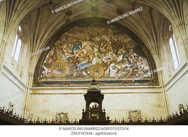 Choir showing the Triumph of the Church by Antonio Palomino. Convento de San Esteban is a Dominican monastery situated in the Plaza del Concilio de Trento in...