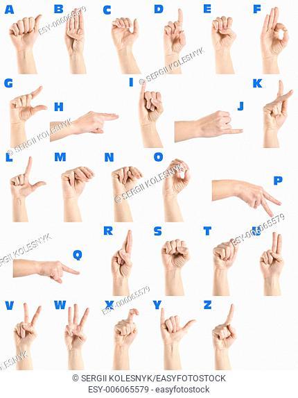 Hand sign language alphabet isolated on white