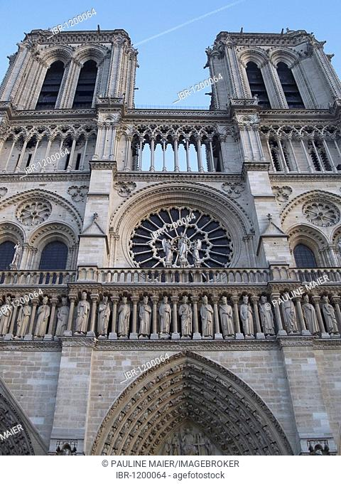 Gothic facade of the Cathedral of Notre Dame de Paris, Paris, France, Europe