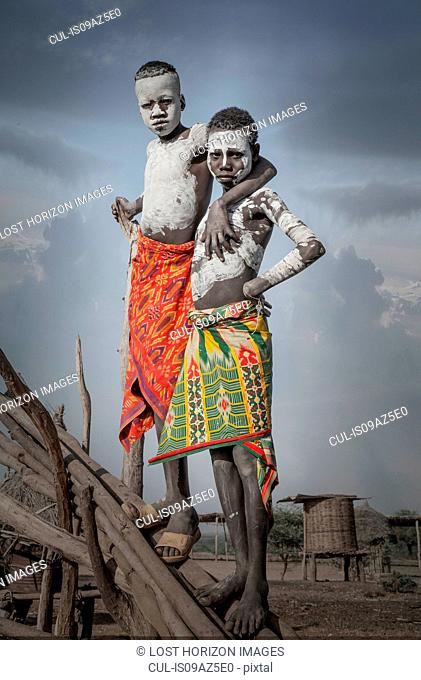 Two young boys of the Karo Tribe, Omo Valley, Ethiopia