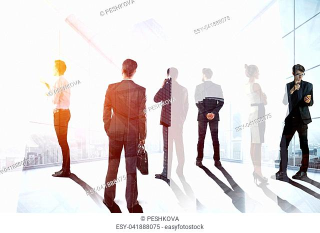 Businesspeople silhouettes in abstract glass office interior. Meeting and discussion concept. Double exposure
