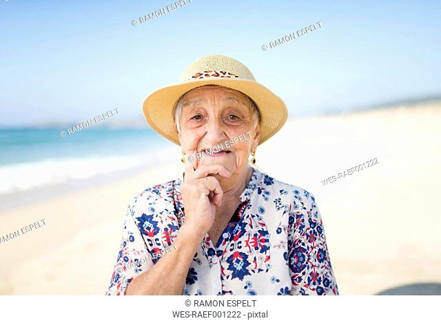 Portrait of senior woman on the beach