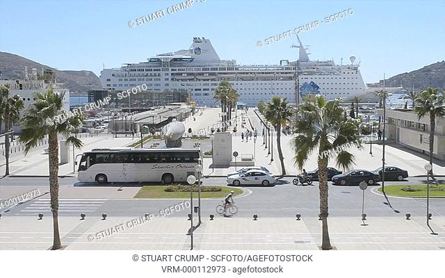 Large Cruise Liner moored in the Port of Cartagena
