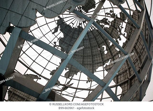 Asia Map, Unisphere, Flushing Meadows, Corona Park, Queens, New York, USA