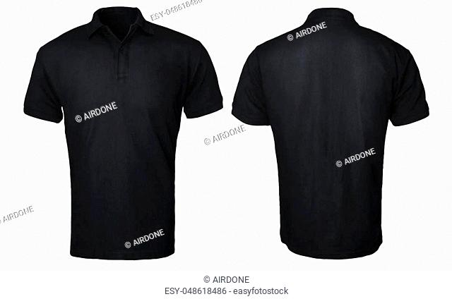 Blank polo shirt mock up template, front and back view, isolated on white, plain black t-shirt mockup. Polo tee design presentation for print
