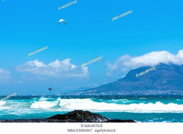 Cape Town, Table Mountain, coast, kitesurfer
