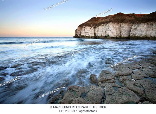 Thornwick Bay at Dusk Flamborough Head Head East Riding of Yorkshire England