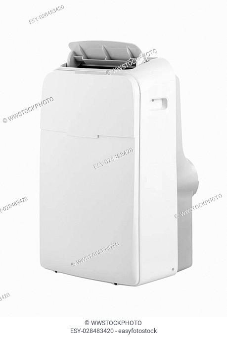 Studio product shot of a portable air conditioner or mobile dehumidifier