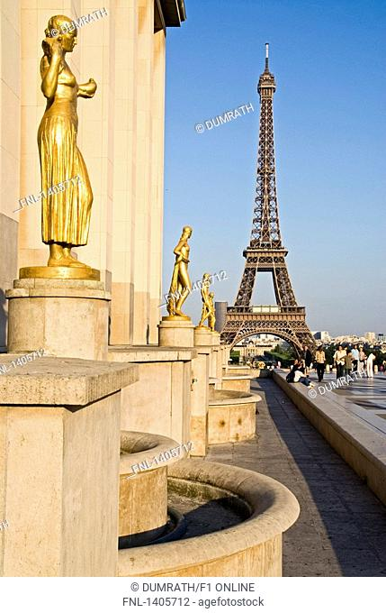 Sculptures in row in front of tower, Palais de Chaillot, Eiffel Tower, Paris, France