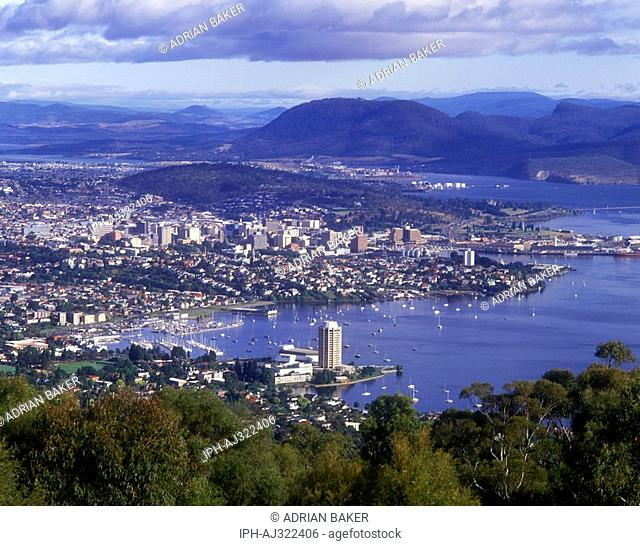 View over Hobart, the state capital of Tasmania, from Mount Nelson