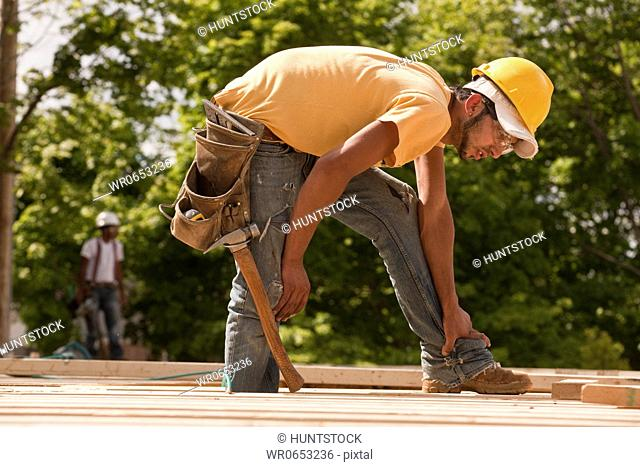 Carpenter at a construction site
