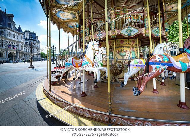 Carousel on the square near Paris city hall