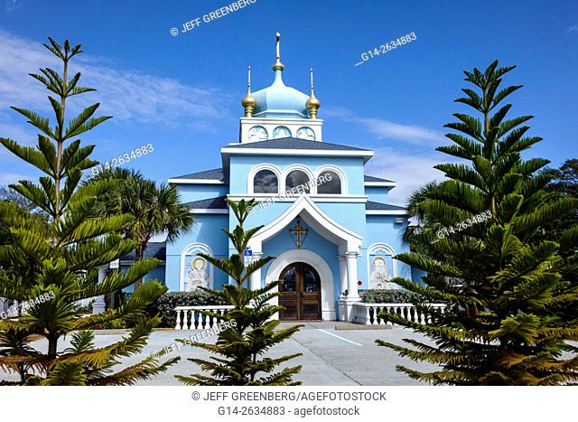 Florida, FL, St. Saint Petersburg, St. Saint Andrew's Russian Orthodox Church, outside, front, entrance