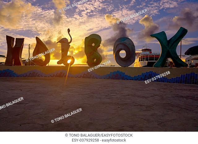 Holbox island word sign spell at sunset in Quintana Roo of Mexico