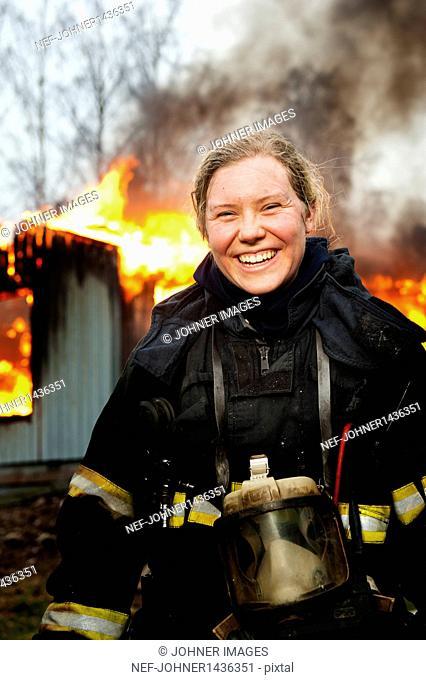 Portrait of female fire fighter