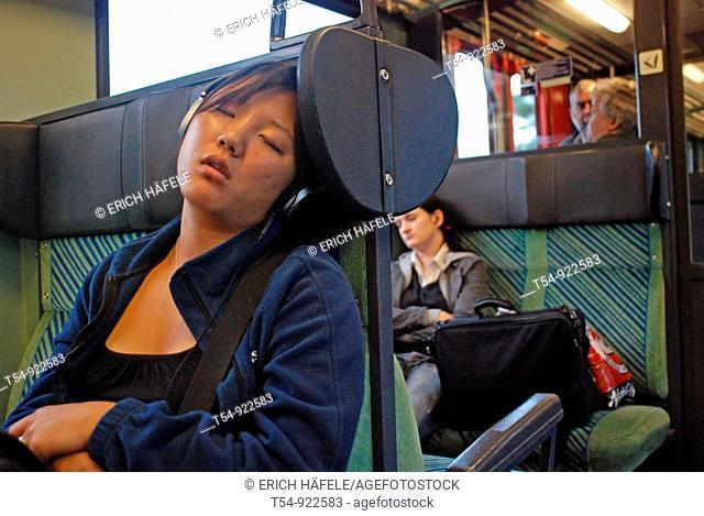 Sleeping People in a German Train