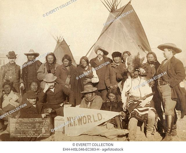 Euro-American and Lakota men at Pine Ridge Reservation on Jan. 16, 1891. They were attempting to re-establish peace after the Wounded Knee Massacre of Dec