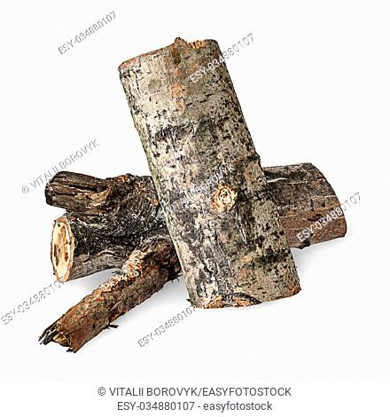 Two poplar logs isolated on white background