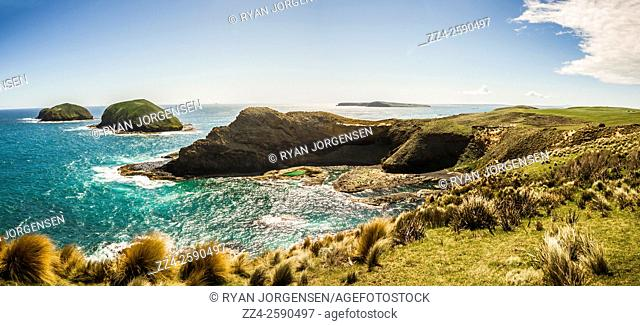 Colourful seaside panoramic landscape of the epic landmark Cape Grim on the most far northwestern point of Tasmania. Australian seascapes