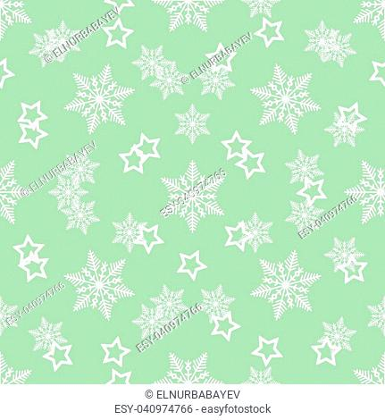 Gold Star and Gold Snowflake Seamless Pattern