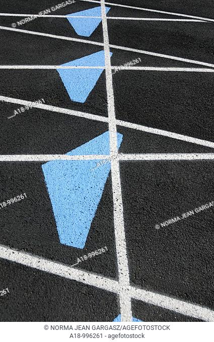 Markings on a track at a high school