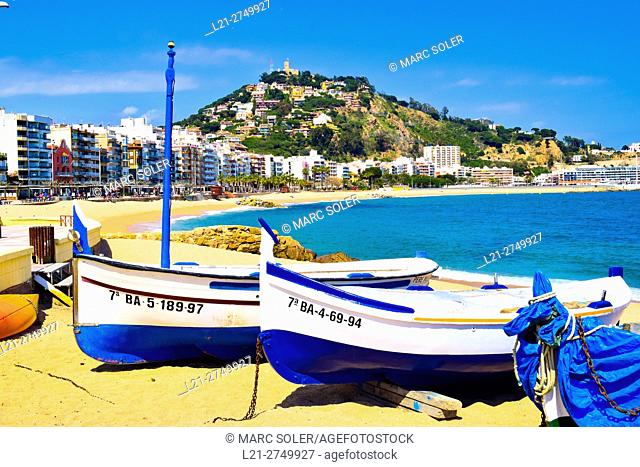 Boats on the beach. Blanes, Catalonia, Spain