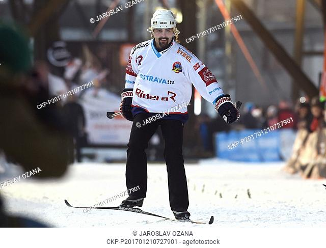 Czech hockey player David Moravec in action during the exhibition race during CEZ City Cross Sprint 2017 in Ostrava, Czech Republic, January 21, 2017