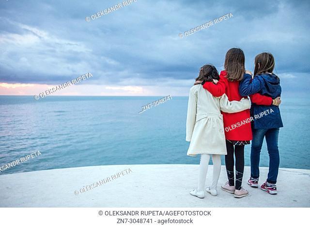 People enjoy the promenade of Durres, Albania