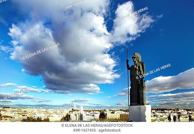 """Minerva statue at the """"""""Circulo de Bellas Artes"""""""" roof. Madrid. Spain"""