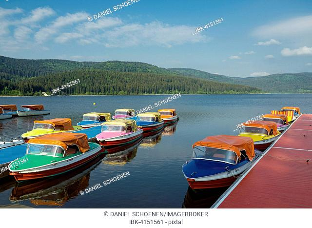 Colorful paddle boats on Lake Schluchsee, Black Forest, Baden-Württemberg, Germany