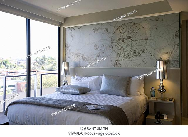 The Olsen, Melbourne, Australia, Rothe Lowman, ROTHE LOWMAN'S OLSEN HOTEL IN MELBOURNE PART OF THE ART SERIES HOTELS INTERIOR DAYTIME VIEW OF BEDROOM