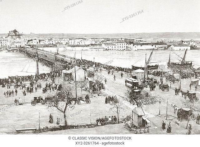 The Puente de Isabel II, Puente de Triana or Triana Bridge and surrounding neighbourhood, Seville, Spain during the floods of 1892