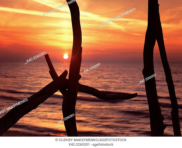Colorful red sunset behind driftwood sculpture at lake Huron, Ontario, Canada