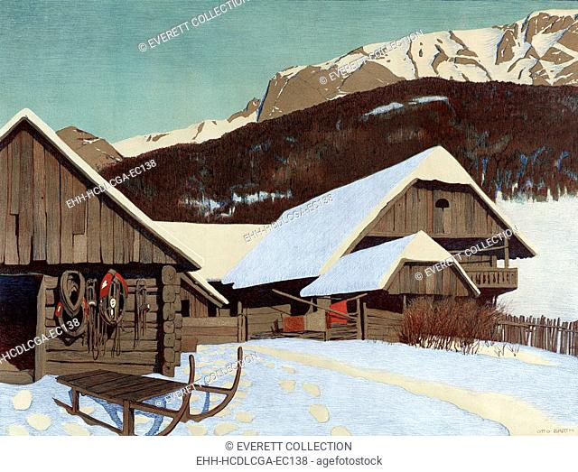 Winter Scene, chromolithograph, 1840-1890