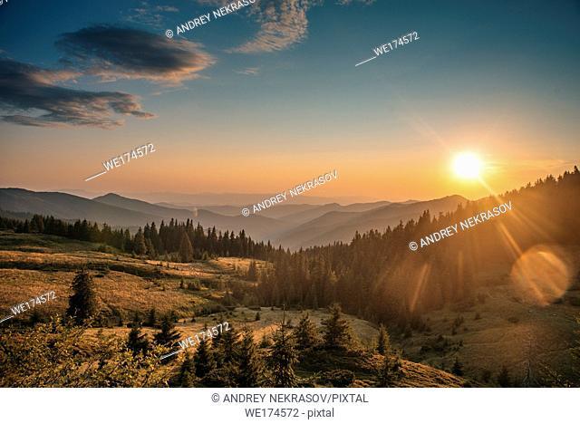 sunrise sunset in the mountains. Carpathian Mountains, Ukraine, Eastern Europe